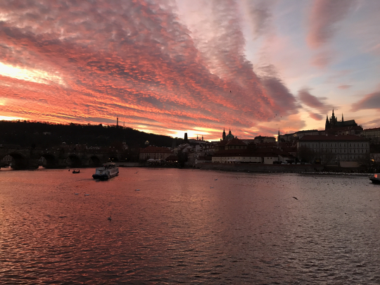 A Late Fall Prague Castle Sunset's Dusk Colors