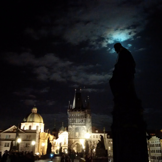 Winter Prague Full Moon-Halo on Charles Bridge Statue